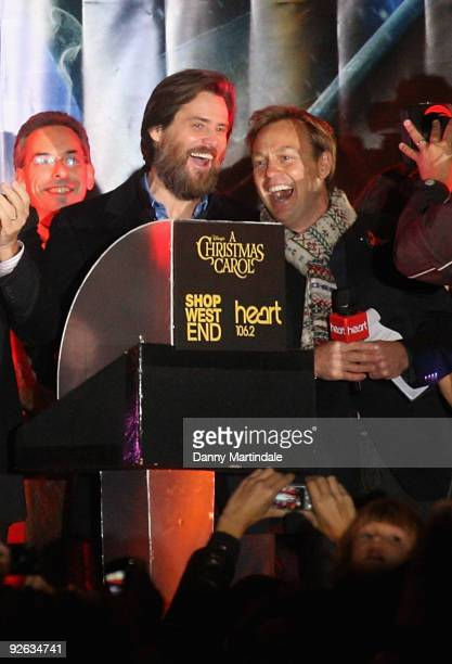 Jim Carrey and Jason Donovan attends the annual switch on of the Oxford Street Christmas Lights on November 3 2009 in London England