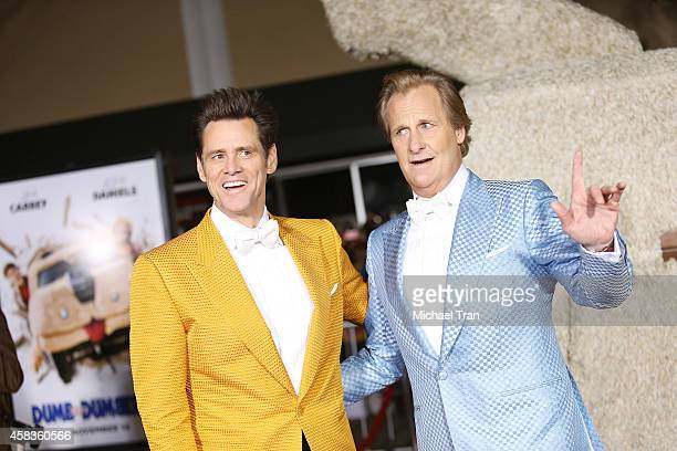 Jim Carrey and Jeff Daniels arrive at the Los Angeles premiere of 'Dumb And Dumber To' held at Regency Village Theatre on November 3 2014 in Westwood...