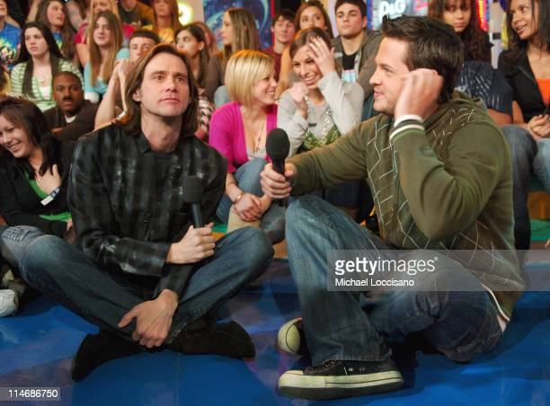 Jim Carrey and MTV VJ Damien Fahey during Jim Carrey Visits and Katharine McPhee Guest Host MTV's 'TRL' February 20 2007 at MTV Studios Times Square...