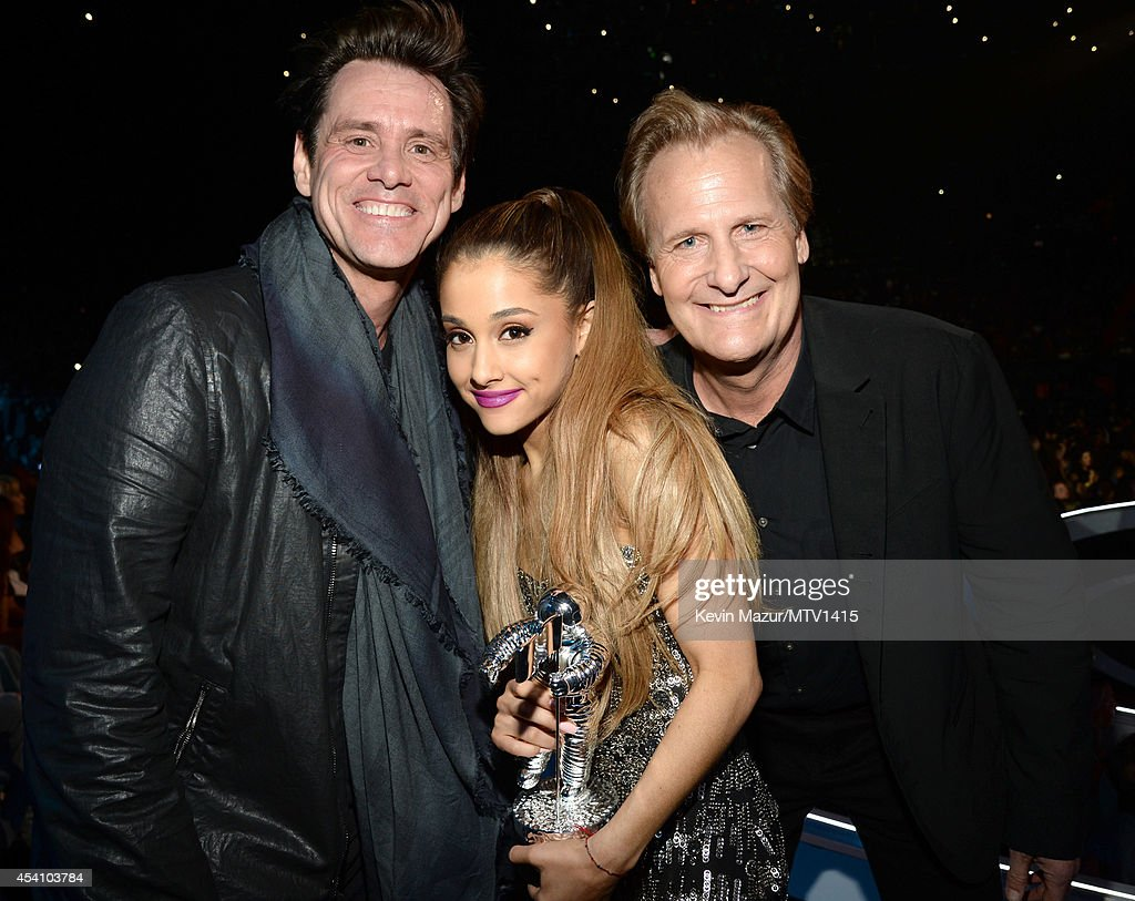 Jim Carrey, Ariana Grande and Jeff Daniels attend the 2014 MTV Video Music Awards at The Forum on August 24, 2014 in Inglewood, California.