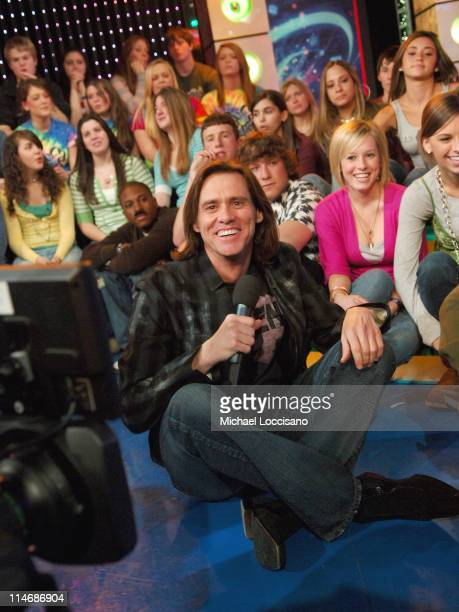 Jim Carrey during Jim Carrey Visits and Katharine McPhee Guest Host MTV's 'TRL' February 20 2007 at MTV Studios Times Square in New York City New...
