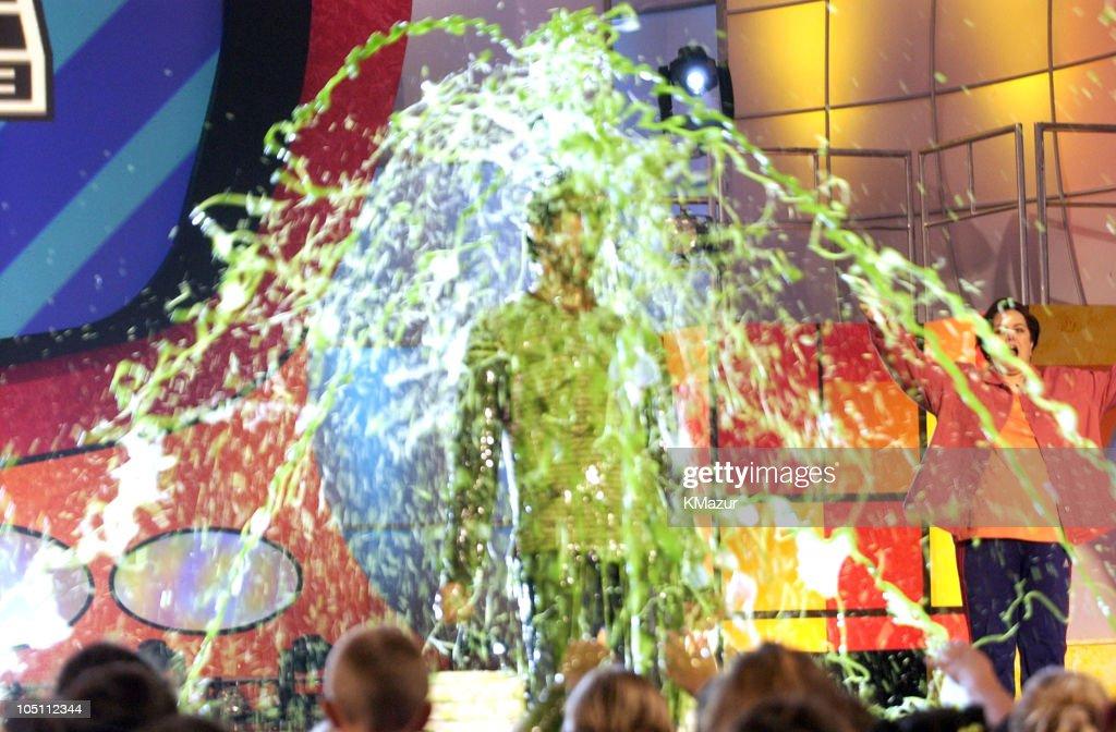 Jim Carrey getting slimed during Nickelodeon's 16th Annual Kids' Choice Awards 2003 Show at Barker Hangar in Santa Monica California United States