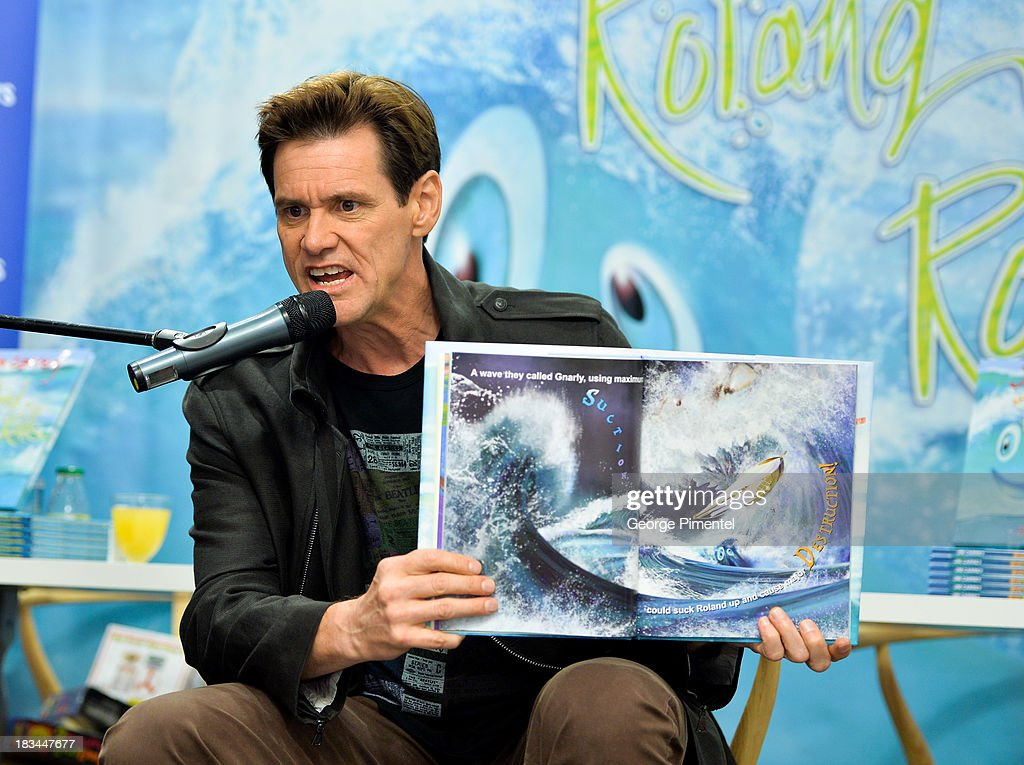 <a gi-track='captionPersonalityLinkClicked' href=/galleries/search?phrase=Jim+Carrey&family=editorial&specificpeople=171515 ng-click='$event.stopPropagation()'>Jim Carrey</a> hosts a signing for his children's book 'How Roland Rolls' At Indigo At Yorkdale Mall on October 6, 2013 in Toronto, Canada.