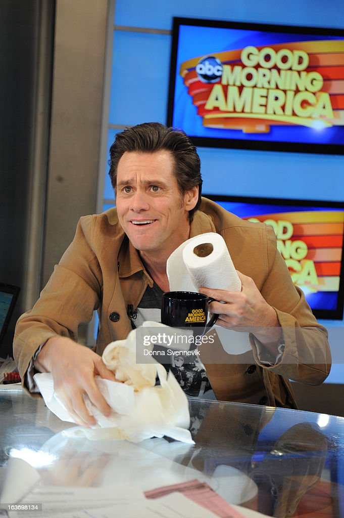 AMERICA - Jim Carrey is a guest on 'Good Morning America,' 3/14/13, airing on the ABC Television Network. (Photo by Donna Svennevik/ABC via Getty Images) JIM