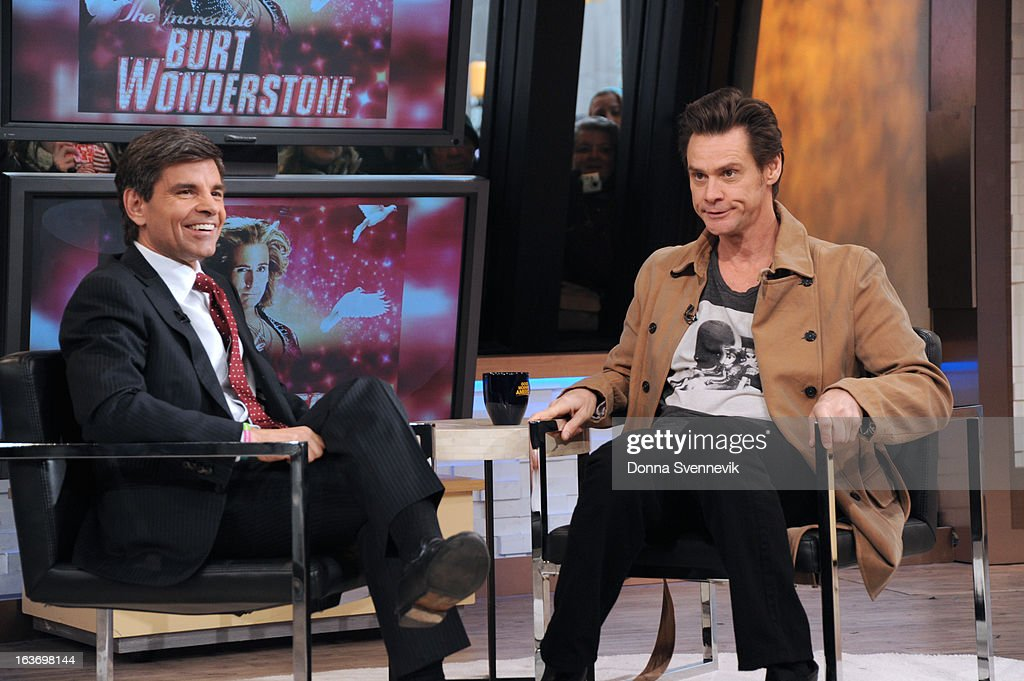 AMERICA - Jim Carrey is a guest on 'Good Morning America,' 3/14/13, airing on the ABC Television Network. (Photo by Donna Svennevik/ABC via Getty Images) GEORGE STEPHANOPOULOS, JIM CARREY