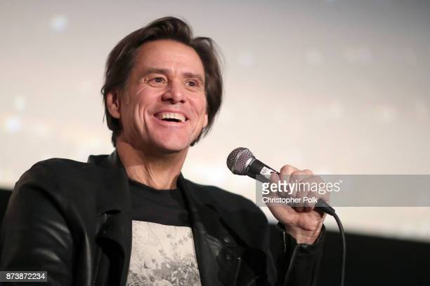 Jim Carrey speaks onstage during 'Jim Andy The Great Beyond Featuring a Very Special Contractually Obligated Mention of Tony Clifton' at AFI FEST...