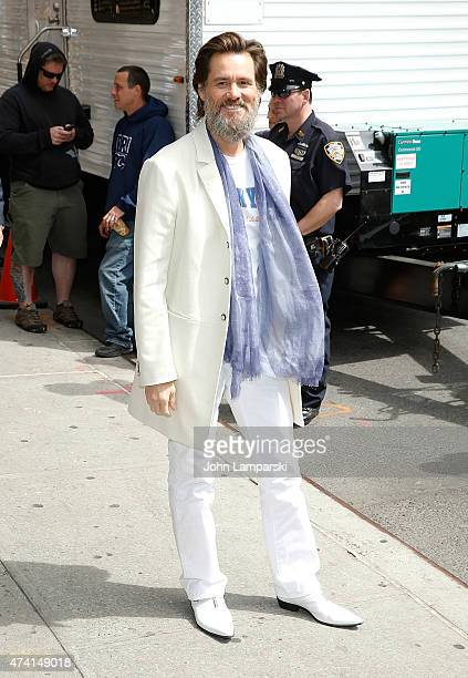 Jim Carrey visits 'Late Show With David Letterman' at Ed Sullivan Theater on May 20 2015 in New York City