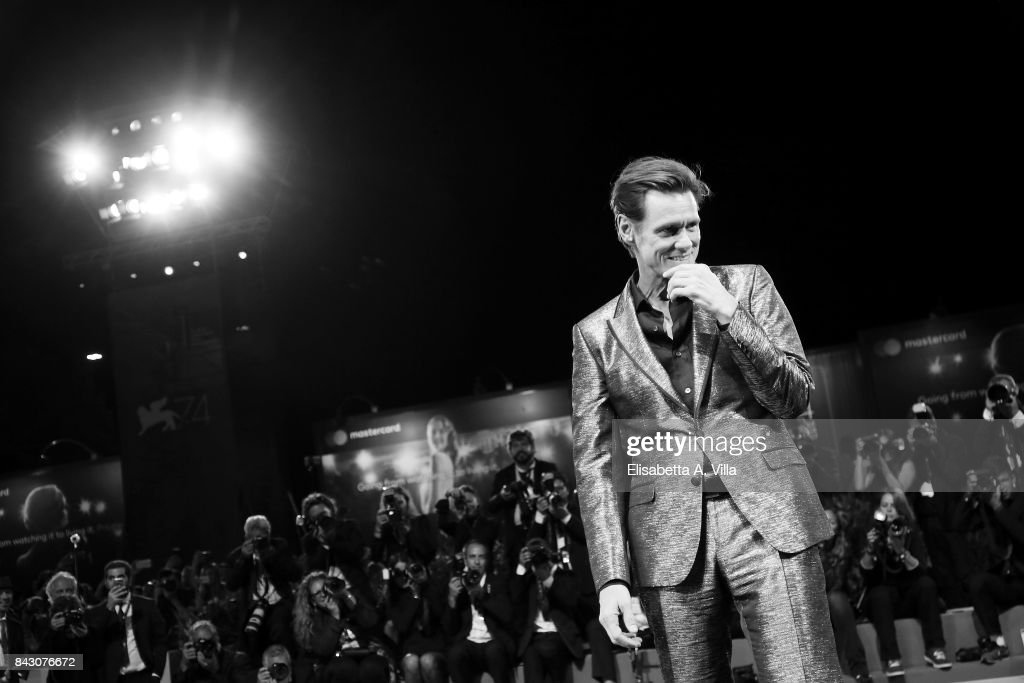 Jim Carrey walks the red carpet ahead of the 'Jim & Andy: The Great Beyond - The Story of Jim Carrey & Andy Kaufman Featuring a Very Special, Contractually Obligated Mention of Tony Clifton' screening during the 74th Venice Film Festival at Sala Grande on September 5, 2017 in Venice, Italy.
