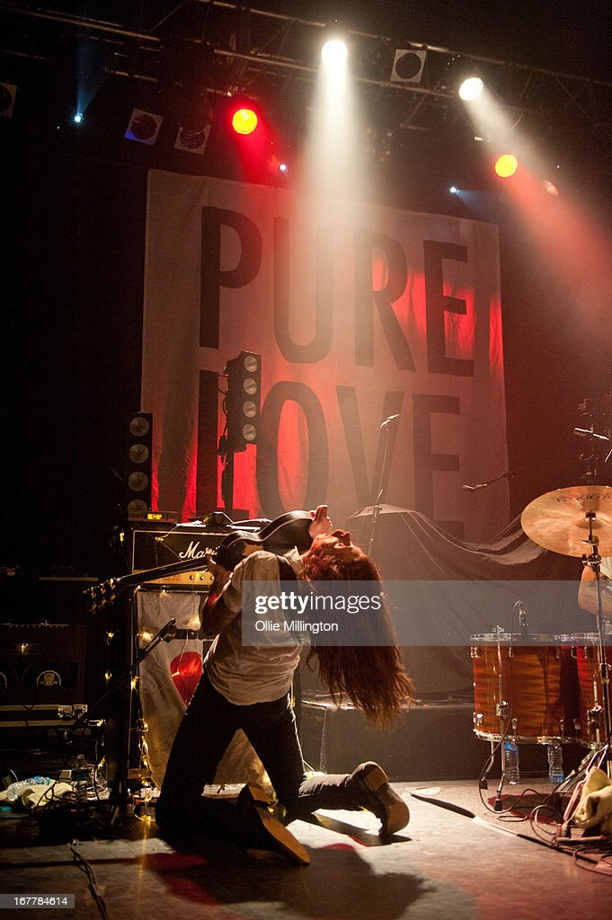 <a gi-track='captionPersonalityLinkClicked' href=/galleries/search?phrase=Jim+Carroll&family=editorial&specificpeople=5640612 ng-click='$event.stopPropagation()'>Jim Carroll</a> of Pure Love performs onstage during a sold out show at KOKO on April 18, 2013 in London, England.
