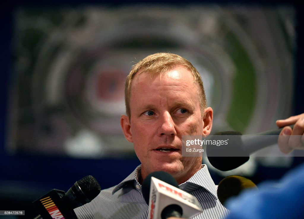 Jim Cassidy, NASCAR Senior Vice President of Racing Operations, talks with members of the media as he discusses changes to the 2017 race schedule at Kansas Speedway on May 5, 2016 in Kansas City, Kansas.