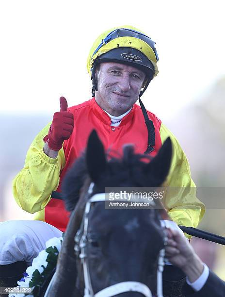 Jim Cassidy returns on Grand Marshal after winning race 8 The Sydney Cup during The Championships at Royal Randwick Racecourse on April 11 2015 in...