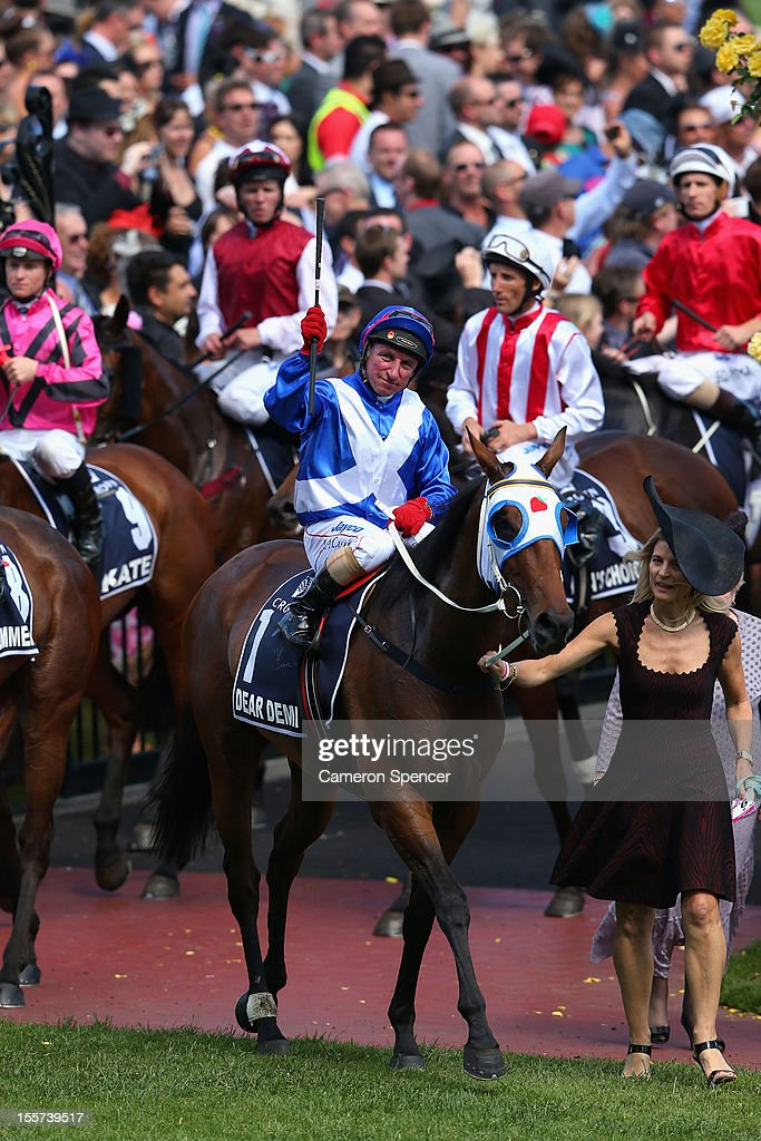 Jim Cassidy riding Dear Demi returns to scale after winning the Crown Oaks during 2012 Crown Oaks Day at Flemington Racecourse on November 8, 2012 in Melbourne, Australia.