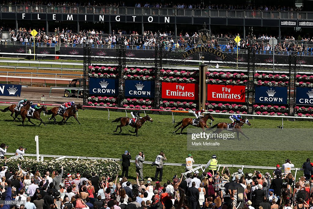 Jim Cassidy riding Dear Demi wins the Crown Oaks during 2012 Crown Oaks Day at Flemington Racecourse on November 8, 2012 in Melbourne, Australia.