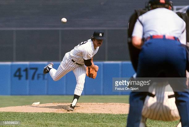 Jim Catfish Hunter of the New York Yankees pitches during an Major League Baseball game circa 1978 at Yankee Stadium in the Bronx borough of New York...