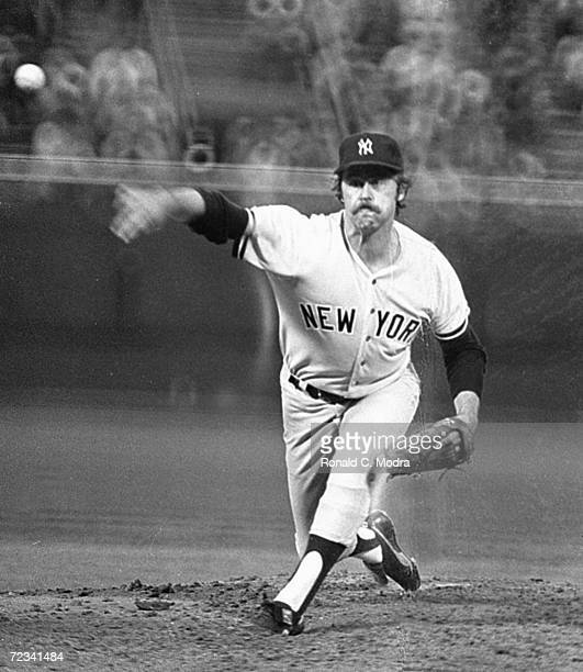 Jim Catfish Hunter of the New York Yankees pitching during a game against the Milwaukee Brewers at County Stadium in the late 1970s in Milwaukee...