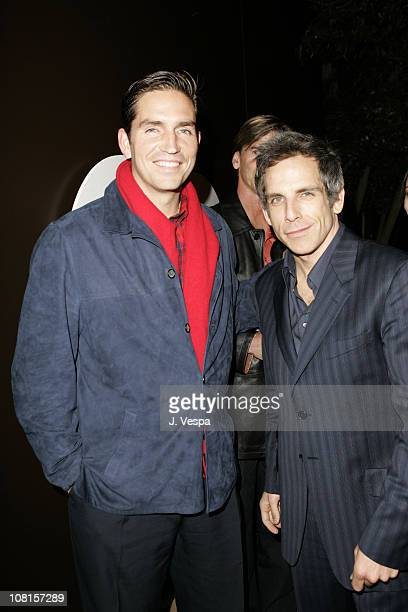Jim Caviezel and Ben Stiller during GQ Magazine Celebrates its 2004 Men of the Year After Party at Ago Restaurant in Los Angeles California United...