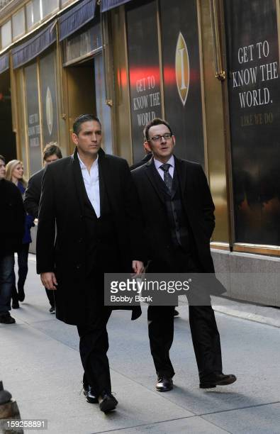 Jim Caviezel and Michael Emerson filming on location for 'Person of Interest' on January 10 2013 in New York City