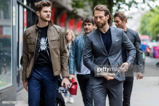 Jim Chapman and Craig McGinlay during the London Fashion Week Men's June 2017 collections on June 12 2017 in London England