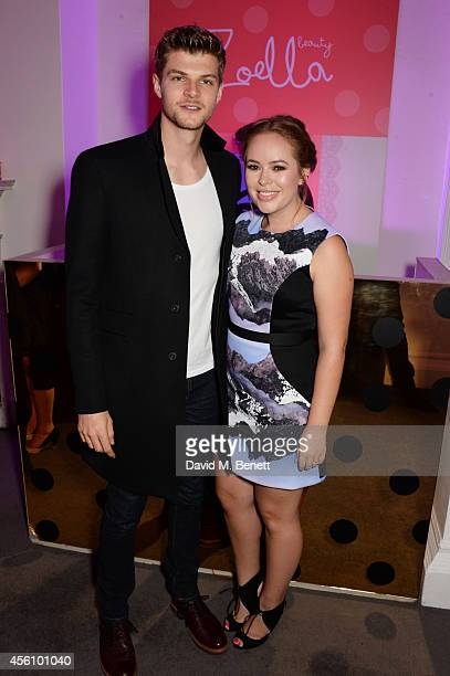 Jim Chapman and Tanya Burr attend YouTube phenomenon Zoe Sugg's launch of her debut beauty collection at 41 Portland Place on September 25 2014 in...