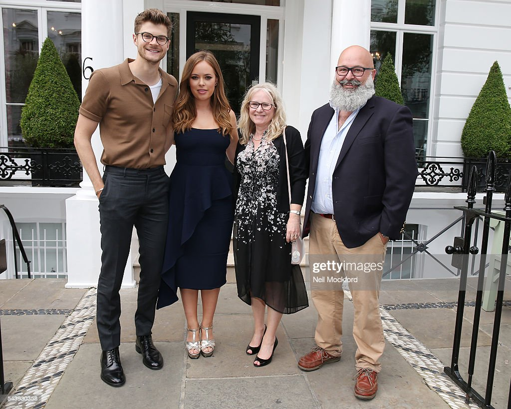 Jim Chapman and <a gi-track='captionPersonalityLinkClicked' href=/galleries/search?phrase=Tanya+Burr&family=editorial&specificpeople=9983702 ng-click='$event.stopPropagation()'>Tanya Burr</a> with her parents arrive at the launch party for her new book 'Tanya Bakes' at Number 16 Hotel Kensington on June 30, 2016 in London, England.