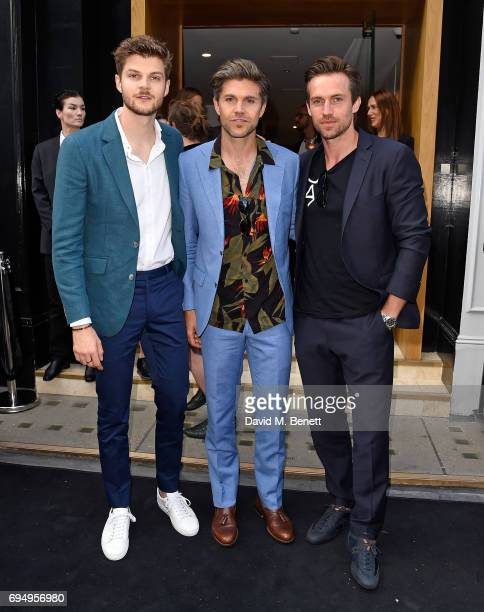 Jim Chapman Darren Kennedy and Andrew Cooper attend the Aston Martin x Hogan London Fashion Week Men's Cocktail in partnership with GQ Style on June...