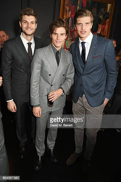 Jim Chapman Oliver Cheshire and Toby HuntingtonWhiteley attend a private dinner hosted by Tommy Hilfiger and Dylan Jones to celebrate London...