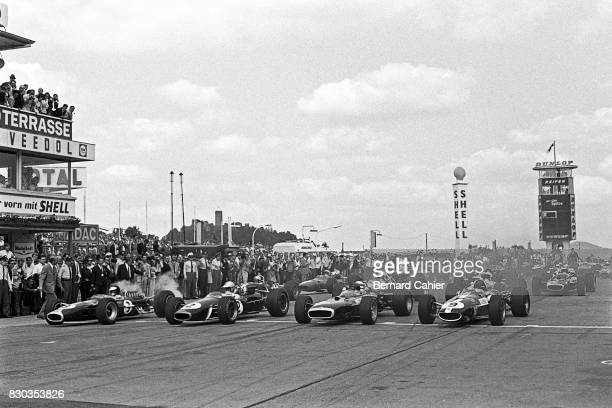 Jim Clark Dennis Hulme Jackie Stewart Dan Gurney LotusFord 49 Brabham BT24 BRM P83 H16 EagleWeslake T1G Grand Prix of Germany Nurburgring 06 August...