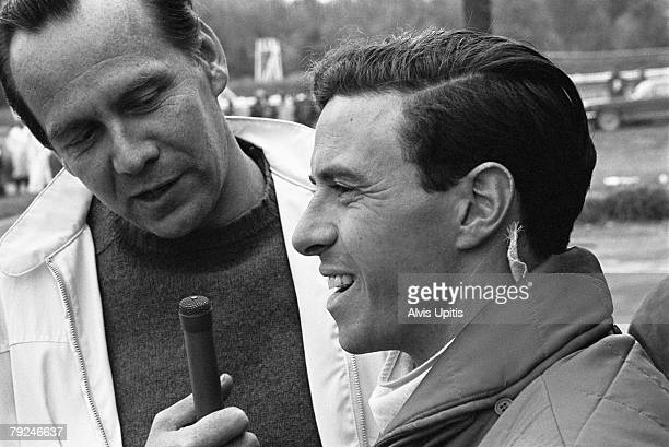 Jim Clark driver for Lotus on October 2 1966 being interviewed in the pits prior to the US Grand Prix at Watkins Glen New York