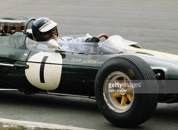 Jim Clark drives the Team Lotus 33 Climax during the British Grand Prix on 16 July 1966 at the Brands Hatch circuit in Fawkham Great Britain