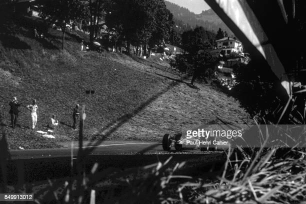 Jim Clark LotusFord 38 OllonVillars Hill Climb Villars Switzerland Villars Switzerland August 29 1965 Jim Clark racing uphill in his 1965 winning...