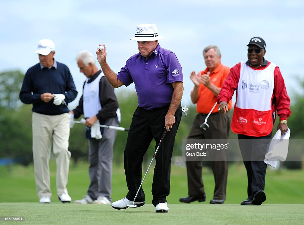 <a gi-track='captionPersonalityLinkClicked' href=/galleries/search?phrase=Jim+Colbert&family=editorial&specificpeople=2200563 ng-click='$event.stopPropagation()'>Jim Colbert</a> waves his golf ball after making his birdie putt on the 18th hole during the final round of the Demaret Division at the Liberty Mutual Insurance Legends of Golf at The Westin Savannah Harbor Golf Resort & Spa on April 23, 2013 in Savannah, Georgia.