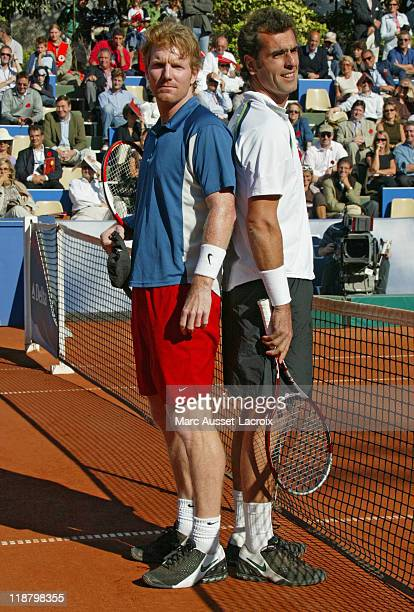 Jim Courier and Cedric Pioline during the photo call of the final of 2nd Trophéé Jean Luc Lagardere at Jean Bouin Stadium ParisSeptember 18 2005