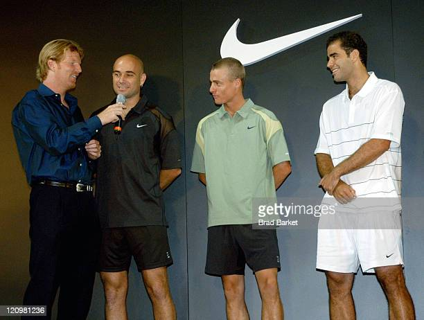 Jim Courier Andre Agassi Lleyton Hewitt and Pete Sampras at the NIKETOWNNYC fashion show at New York's City's NikeTown