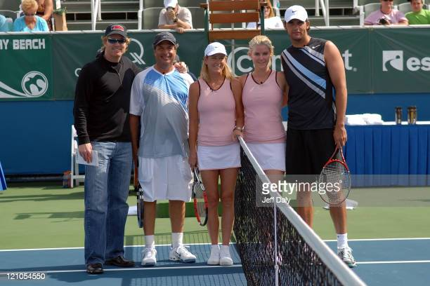Jim Courier Jon Lovitz Chris Evert Maeve Quinlan and Mark Philippoussis attend the Chris Evert/Raymond James Pro Celebrity Tennis Classic on November...