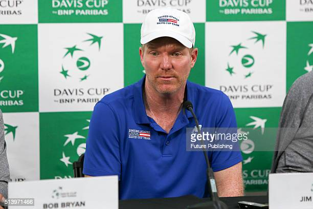Jim Courier speaks to the media after Australia loses to the USA in the Davis Cup 1st Round on March 6 2016 in Melbourne Australia Chris Putnam /...