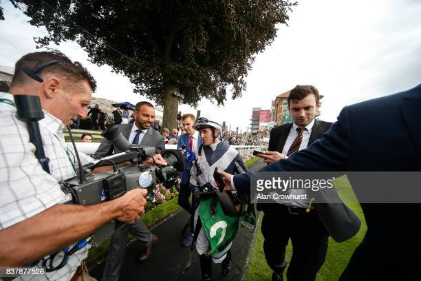 Jim Crowley after riding Ulysses to win The Juddmonte International Stakes at York racecourse on August 23 2017 in York England