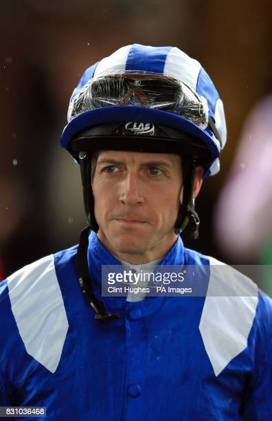 Jim Crowley makes his way into the parade ring prior to the Betfred Rose of Lancaster Stakes during Betfred Rose of Lancaster Stakes Ladies Day at...