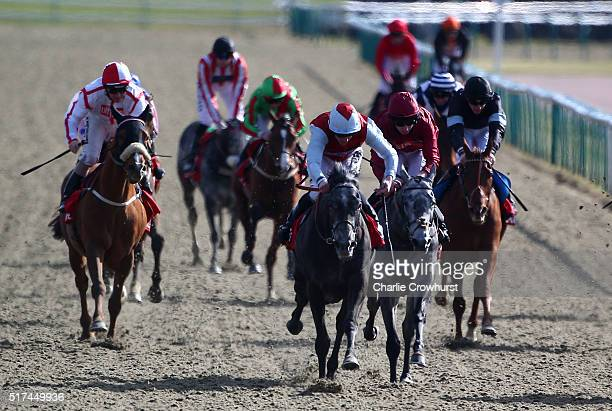 Jim Crowley rides Moonrise Landing to win The 32RED all weather marathon champonships conditions stakes during the All Weather Championships Finals...