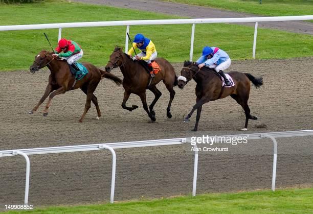 Jim Crowley riding Fleur de La Vie win The Olly Murs Fillies' Handicap Stakes at Kempton racecourse on August 06 2012 in Sunbury England