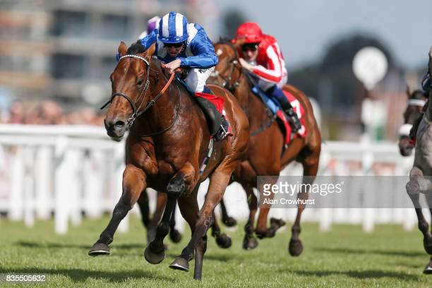 Jim Crowley riding Massaat win The Betfred Hungerford Stakes at Newbury racecourse on August 19 2017 in Newbury England
