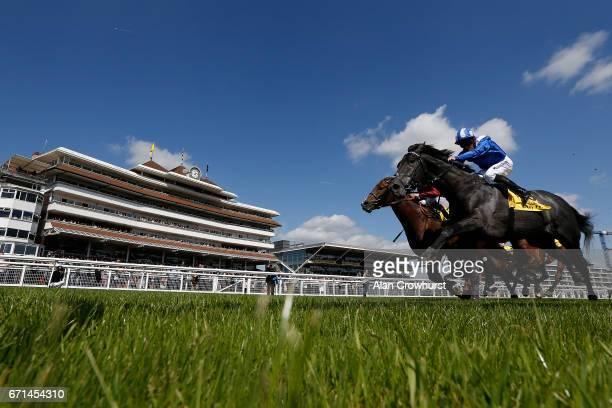 Jim Crowley riding Muntahaa win The Dubai Duty Free Finest Surprise Stakes at Newbury Racecourse on April 22 2017 in Newbury England