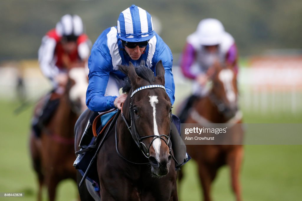 Jim Crowley riding Shabaaby win The Irish Stallion Frms EBF Conditions Stakes at Doncaster racecourse on September 13, 2017 in Doncaster, United Kingdom.