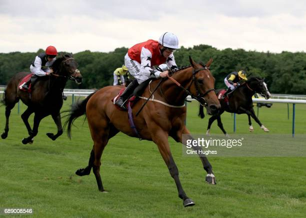 Jim Crowley riding Sofia's Rock leads the field home to win the Amix Handicap Stakes at Haydock Racecourse on May 27 2017 in Haydock England