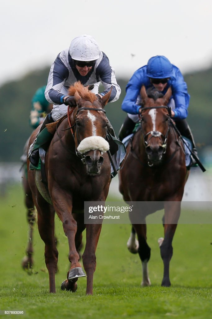 Jim Crowley riding Ulysses win The Juddmonte International Stakes at York racecourse on August 23, 2017 in York, England.
