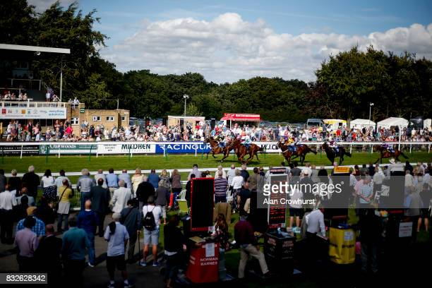 Jim Crowley riding Viking Hoard win The Champagne Joseph Perrier Handicap Stakes at Salisbury racecourse on August 16 2017 in Salisbury England