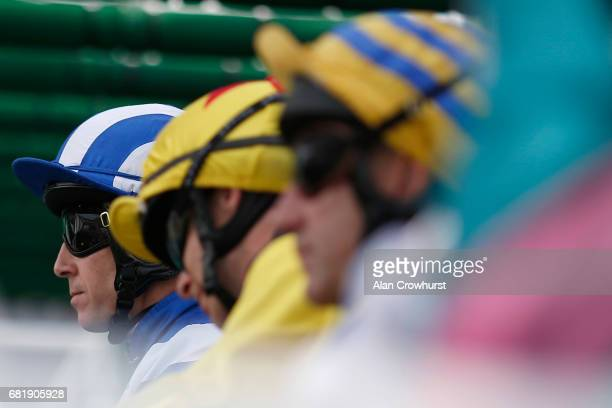 Jim Crowley waits in the stalls at Chester Racecourse on May 11 2017 in Chester England