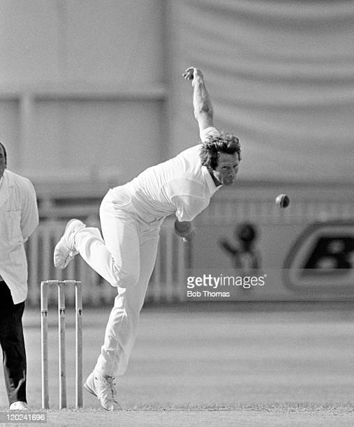 Jim Cumbes bowling for Worcestershire July 1981