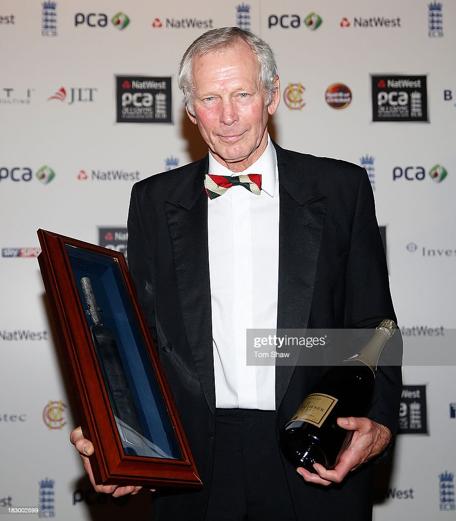 Jim Cumbes of Lancashire Cricket Club poses with the ECB Special Award during the Natwest PCA Awards dinner at The Roundhouse on October 3, 2013 in London, England.