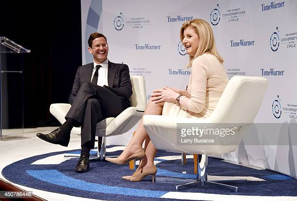 Jim Cummings and Arianna Huffington speak on stage during Time Warner's Conversations On The Circle with Arianna Huffington moderated by Time...
