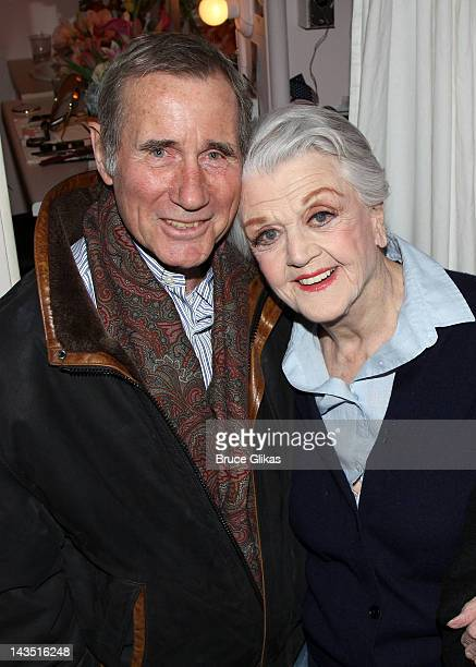 Jim Dale and Angela Lansbury pose backstage at the hit play 'Gore Vidal's The Best Man' on Broadway at The Gerald Schoenfeld Theatre on April 27 2012...